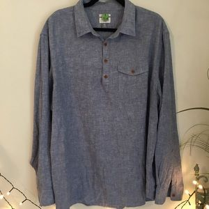 Old Navy Chambray Tunic Top Wooden Buttons Henley